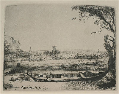 Rembrandt Sketch Of Cottage Landscape Art Print by Rembrandt