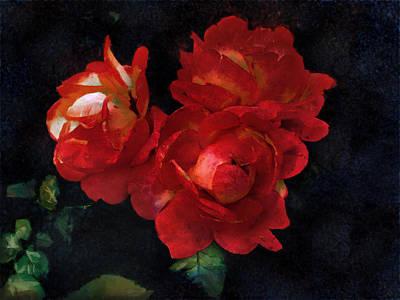 Aged Look Digital Art - Rembrandt Roses by Bernie  Lee
