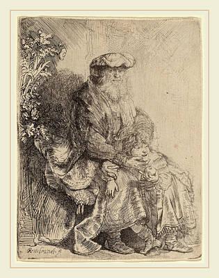 Caress Drawing - Rembrandt Van Rijn Dutch, 1606-1669, Abraham Caressing Isaac by Litz Collection