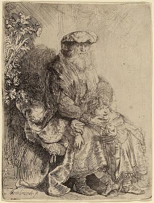 Caress Drawing - Rembrandt Van Rijn Dutch, 1606 - 1669, Abraham Caressing by Quint Lox
