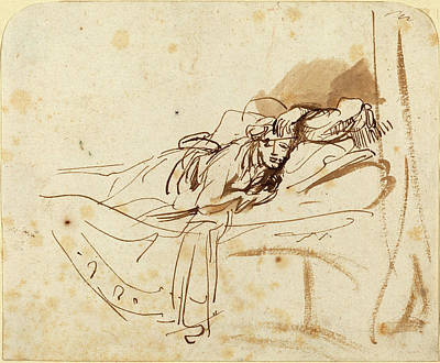 Saskia Drawing - Rembrandt Van Rijn Dutch, 1606 - 1669, Saskia Lying In Bed by Quint Lox