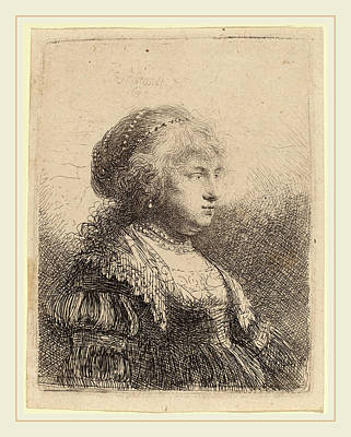 Saskia Drawing - Rembrandt Van Rijn Dutch, 1606-1669, Saskia With Pearls by Litz Collection
