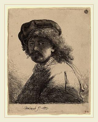 Self-portrait Drawing - Rembrandt Van Rijn Dutch, 1606-1669, Self-portrait In A Cap by Litz Collection