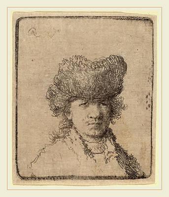 Self-portrait Drawing - Rembrandt Van Rijn Dutch, 1606-1669, Self-portrait In A Fur by Litz Collection
