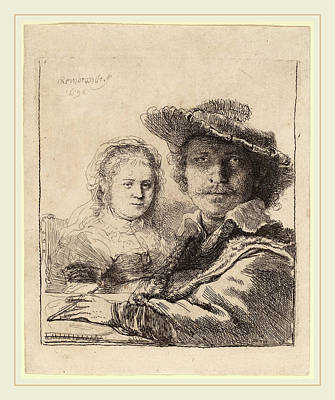 Saskia Drawing - Rembrandt Van Rijn Dutch, 1606-1669, Self-portrait by Litz Collection