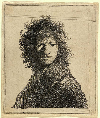 Self-portrait Drawing - Rembrandt Van Rijn, Self-portrait, Frowning by Litz Collection