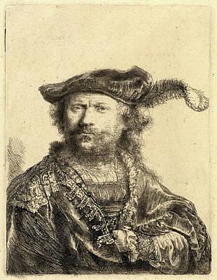 Self-portrait Drawing - Rembrandt Van Rijn, Self-portrait In A Velvet Cap With Plume by Litz Collection
