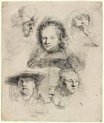 Saskia Drawing - Rembrandt Van Rijn, Studies Of The Head Of Saskia And Others by Quint Lox