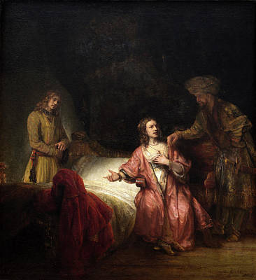 Rembrandt Workshop, Joseph Accused By Potiphars Wife Print by Quint Lox