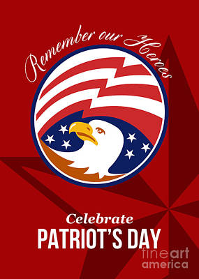 Remember Our Heroes Celebrate Patriots Day Poster Art Print by Aloysius Patrimonio