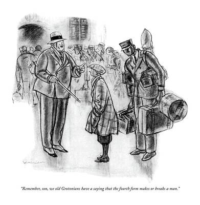 1932 Drawing - Remember, Son, We Old Grotonians Have A Saying by Wallace Morgan
