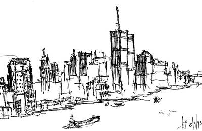 Drawing - Remember World Trade Center by Jason Nicholas