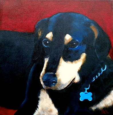 Puppy Lover Painting - Remembering Doby by Debi Starr