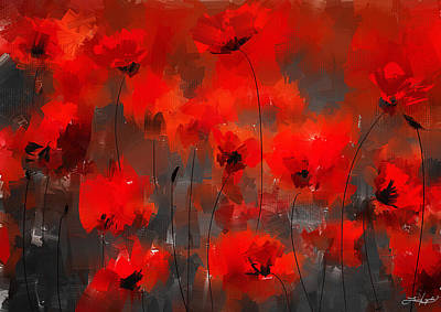 Orange Poppy Painting - Remembrance by Lourry Legarde