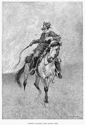 Drawing - Remington Cowboy, 1891 by Granger