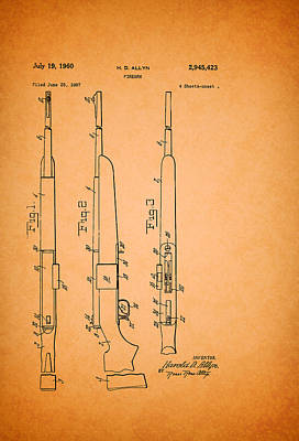 Remington Drawing - Remington Firearm Patent 1960 by Mountain Dreams