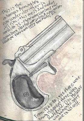 Gun Barrel Painting - Remington Over Under Derringer by Kevin Callahan