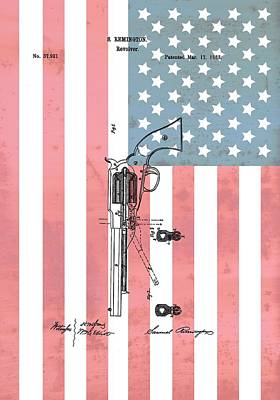 Red White And Blue Mixed Media - Remington Revolver Patent American Flag by Dan Sproul