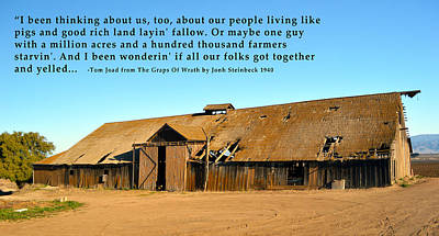 Dilapidated Barn Digital Art - Remnants Of The Grapes Of Wrath John Steinbeck Quote by Barbara Snyder