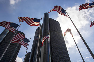 Photograph - American Flags And Renaissance Center by Gej Jones