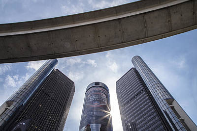 Photograph - Renaissance Center And People Mover In Detroit  by John McGraw