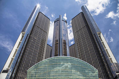 Renaissance Center From River Art Print by John McGraw