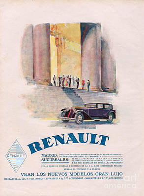 Renault 1930 1930s Usa Cc Cars Art Print by The Advertising Archives