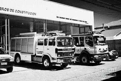 Bomba Photograph - Renault Fire Trucks Tenders Constitucion Fire Station Chile by Joe Fox