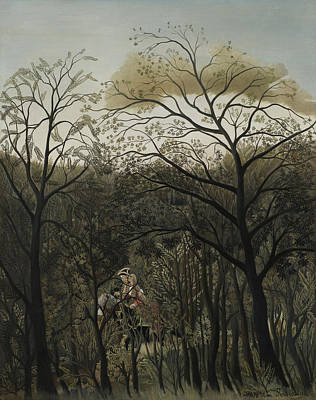 Naive Painting - Rendezvous In The Forest by Henri J F Rousseau