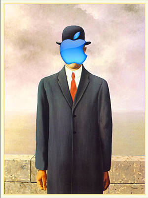 Painting - Rene Magritte Son Of Man Apple Computer Logo by Tony Rubino