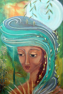 Sacred Feminine Moon Painting - Renewal by Wendy Hassel