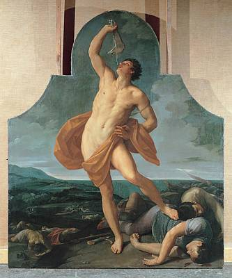 Nude Young Man Photograph - Reni Guido, Samson Victorious, 1618 - by Everett