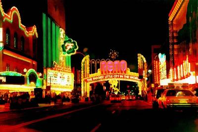The Western Hotel Photograph - Reno At Night by Michelle Calkins