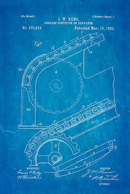 Reno Escalator Patent Art 1892 Blueprint Print by Ian Monk