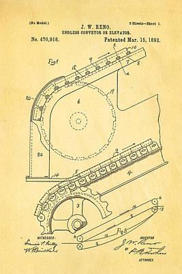 Reno Escalator Patent Art 1892 Print by Ian Monk