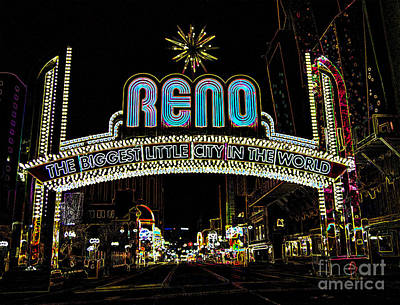 Digital Art - Reno Lights by Louise Magno