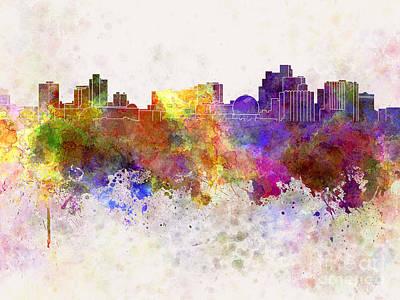 Reno Skyline In Watercolor Background Art Print