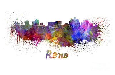 Reno Skyline In Watercolor Art Print