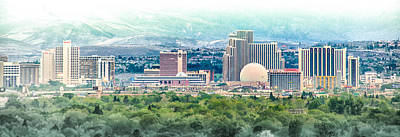 Fantasy Royalty-Free and Rights-Managed Images - Reno Skyline Pano-Spring by Janis Knight