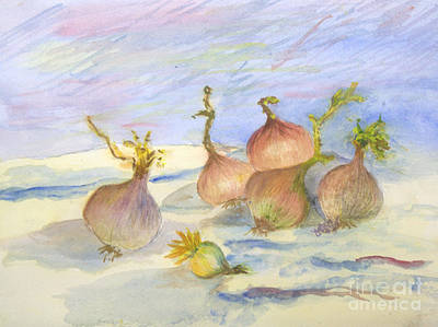 Remodernist Painting - Renoirs Onions In Watercolor by Donna Walsh