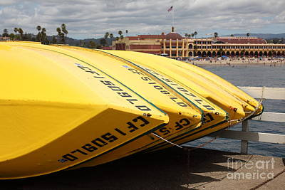 Santa Cruz Wharf Photograph - Rental Boats On The Municipal Wharf At Santa Cruz Beach Boardwalk California 5d23795 by Wingsdomain Art and Photography