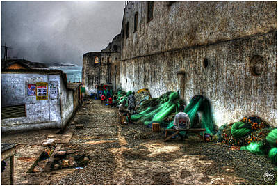Bath Time Rights Managed Images - Repairing Nets at Cape Coast Castle  Royalty-Free Image by Wayne King