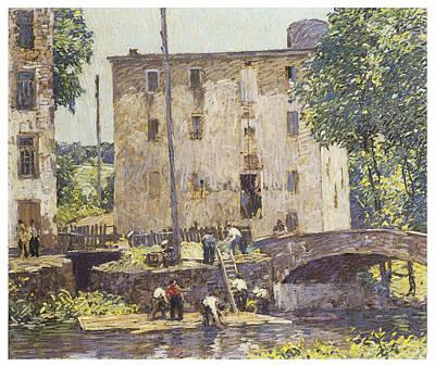 Repairing The Bridge Art Print by Robert Spencer