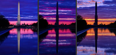 Photograph - Repairing The Monument Triptych by Metro DC Photography