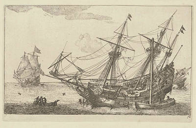 Repairs To The Hull Of A Merchant Ship, Anonymous Art Print