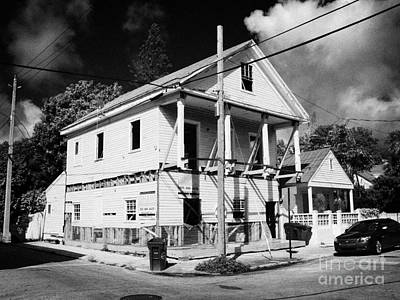 Repairs To Traditional Two Storey Wooden House In The Old Town Of Key West Florida Usa Print by Joe Fox