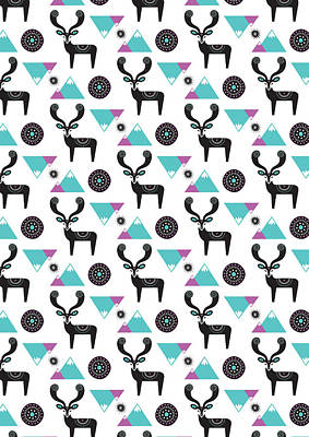 Repeat Print - Folk Deer Art Print by Susan Claire