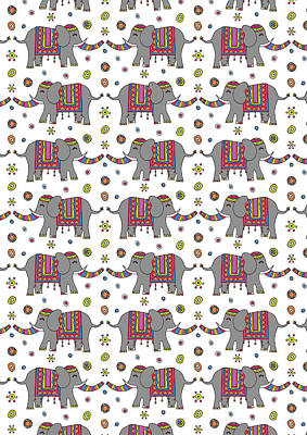 Repeat Print - Indian Elephant Art Print by Susan Claire