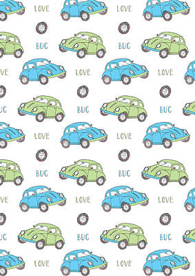 Repeat Print - Love Bug Art Print by Susan Claire