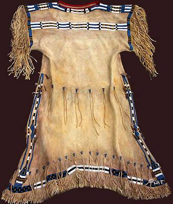 Arapaho Mixed Media - Replica Cheyenne Dress Circa 1850 by Native Arts Trading